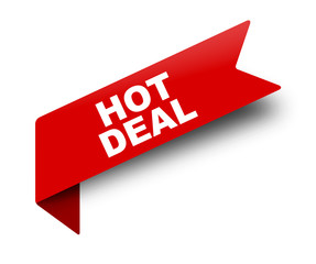 red vector banner ribbon hot deal