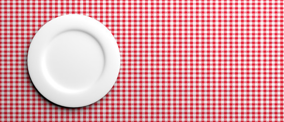 Empty white plate on red checkered tablecloth, banner, copy space. 3d illustration