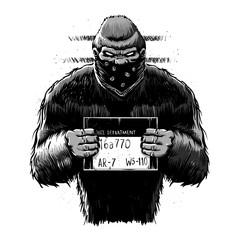 Bigfoot mugshot cartoon illustration