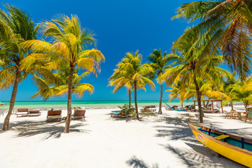 Tropical beach setting on Isla Holbox, Mexico
