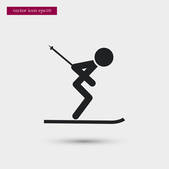 Skier icon. Simple sportsman element illustration. Ski symbol design from sport collection. Can be used in web and mobile.