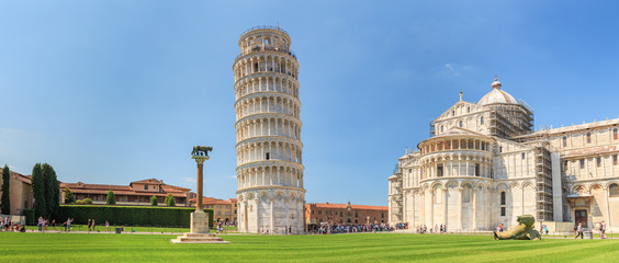 Aluminium Prints Historical buildings Pisa Panorama mit dem Schiefen Turm
