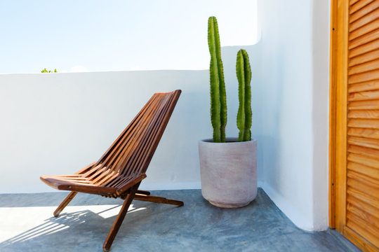 Chair and cactus plant inside a mexican home