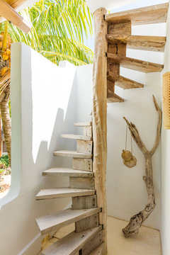 Spiral steps inside a mexican home