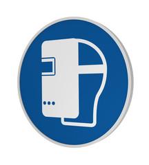 Gebotszeichen ASR A1.3: Schweißmaske benutzen, 3d Render