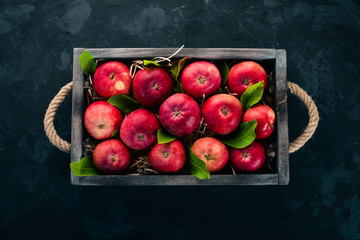 Fresh red apples in a wooden box. Organic food. On a black background. Top view. Free space for text.