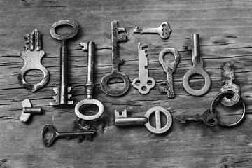 Various old keys,  black and white