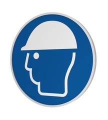 Gebotszeichen ASR A1.3: Kopfschutz benutzen, 3d Render