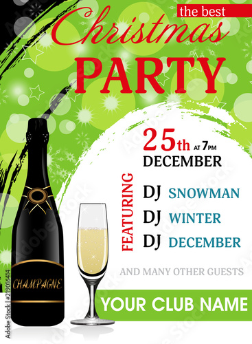 christmas party invitation green vertical template with champagne bottle and wineglass new year background