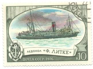 postage stamp, ship icebreaker F. Litke