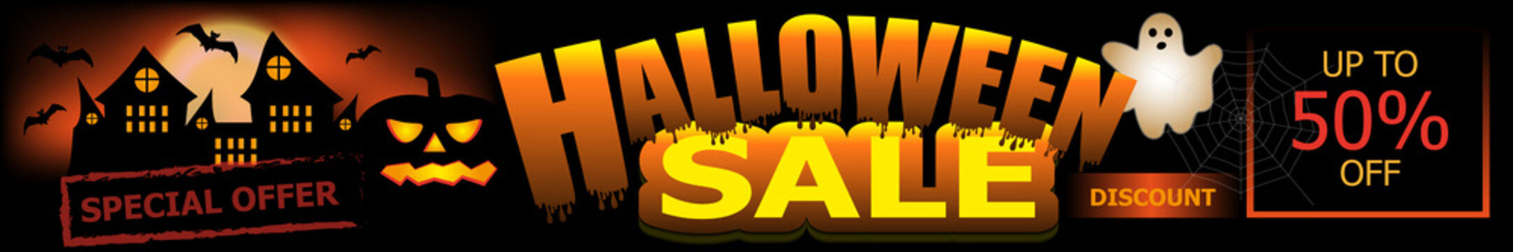 Halloween Sale banner. Background with pumpkin, castle and ghost. Vector