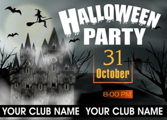 Halloween Party template invitation or poster and banner with gothic castle, flying young witch and full moon. Vector