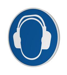 Gebotszeichen ASR A1.3: Gehörschutz benutzen, 3d Render