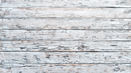 Old vintage wooden white background. Top view. Free space for your text.