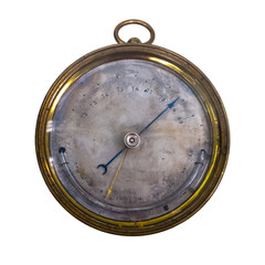 old barometer aneroid, isolate