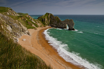 Durdle Door Panorama- a stunning beach with remarkable geologic phenomena