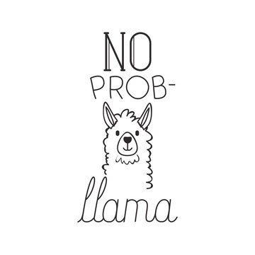 llama animal with messsage hand made font vector illustration design