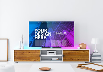 Smart TV Mockup on a Living Room Console