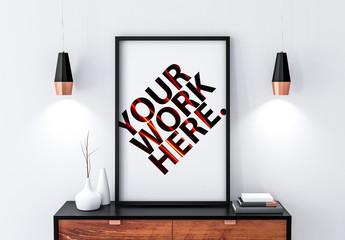 Black Poster Frame Mockup on Bureau