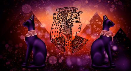 Egyptian cat, goddess Bastet and Cleopatra, pyramids, abstract dark background bokeh
