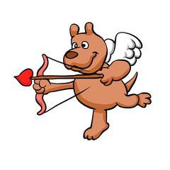 Cartoon angel dog . illustration