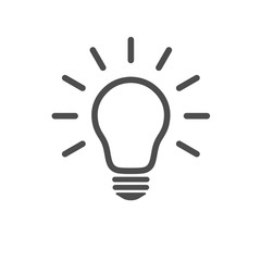 Light bulb icon. Line vector, isolated on white background in flat style for graphic design. Idea sign, solution, thinking concept. Lighting electric lamp.