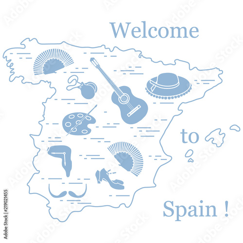 Vector Illustration With Various Symbols Of Spain Arranged In A