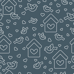 Seamless pattern with birds, birdhouses and hearts