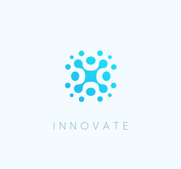 Innovate technology blue iccon, abstract technological vector logo template.