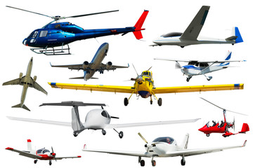Passenger airplanes, gliders, gyroplanes, sports light aircraft  isolated