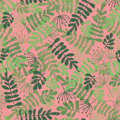 Green leaf silhouettes on pink. Vector seamless pattern. Jungle leaves background. Distressed style. Foilage ash, Robinia. For fabric, paper, wallpaper, web banner, invitation, gift wrap, girl, women.
