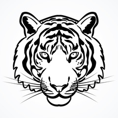 TIGER HEAD OUTLINE ILLUSTRATION VECTOR