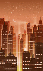 Night city, city scene, skyscrapers, towers, starry sky, lights, horizon, perspective, background, vector, isolated