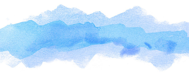 blue multilayer strip with saturated center watercolor stain on white background.