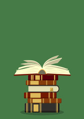 Old books stack with open book on green background. Education vector illustration with place for your text.
