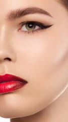 Mascara Applying. Long Lashes closeup. Mascara Brush. Eyelashes extensions. Makeup for Blue Eyes. Eye Make up Apply,red lips