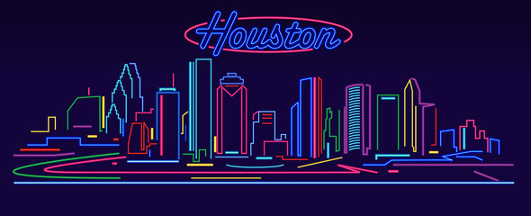 Wall Mural - Houston skyline by night