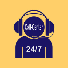 Silhouette of a man in headphones with microphone, 24/7 inscription and call center