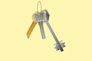 Three different metal keys hanging on the ring, yellow background