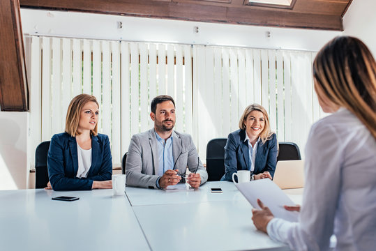 Woman having a job interview with HR specialists.