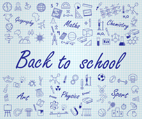 Back to school. School subjects set.