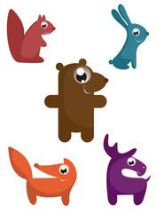 Cartoon funny animal isolated.  illustration. Comic cartoon funny animals set for design isolated on white illustration