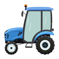 Blue tractor side