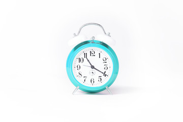 teal old clock isolated on white studio background.
