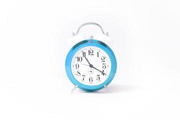 blue old clock isolated on white studio background.