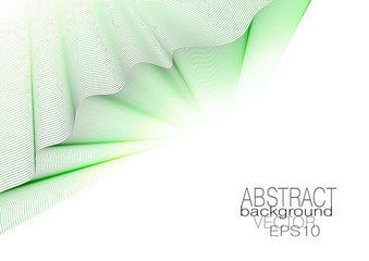 Brochure cover design. Vector abstract striped background. Green, yellow line art pattern. Rippled fabric. Concept layout for leaflet, flyer, book, poster, presentation. EPS10 illustration