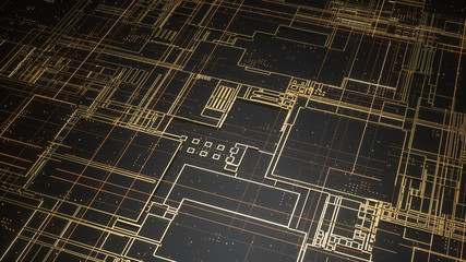 Digital electronic circuit board. Abstract structure of many glowing lines and geometric elements. Creative technology concept. Luminous and metal elements on black background. 3d rendering