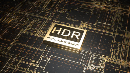 HDR high dynamic range symbol on abstract electronic circuit board. Television technology concept, ultra high definition sign on digital background with many lines and geometric elements. 3d rendering