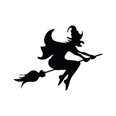 Halloween witch on a broomstick silhouette