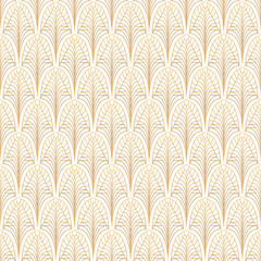 Art Deco seamless pattern. Gold on white